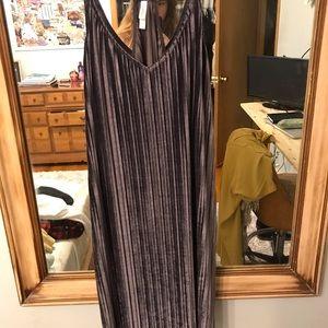 Purple Velvet Spaghetti-Strap Dress